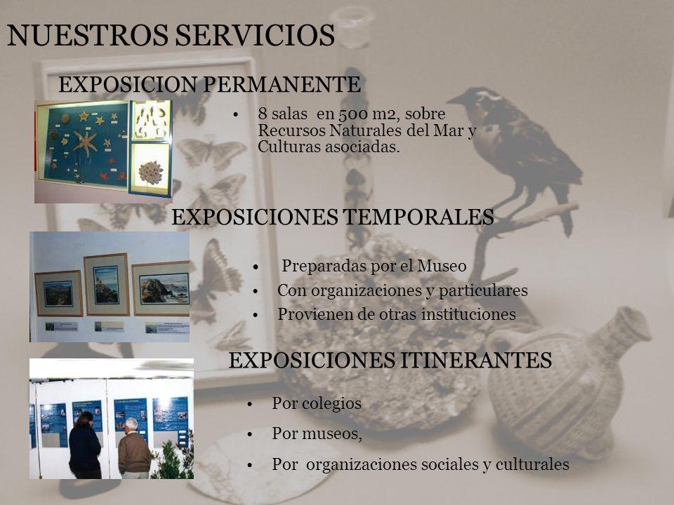 NUESTROS SERVICIOS 8 salas en 500 m2, sobre Recursos Naturales del Mar y Culturas asociadas. EXPOSICION PERMANENTE EXPOSICIONES TEMPORALES Preparadas