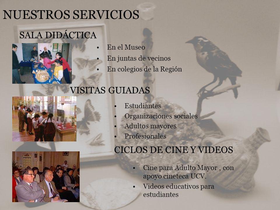 NUESTROS SERVICIOS En el Museo En juntas de vecinos En colegios de la Región SALA DIDÁCTICA VISITAS GUIADAS Estudiantes Organizaciones sociales Adulto