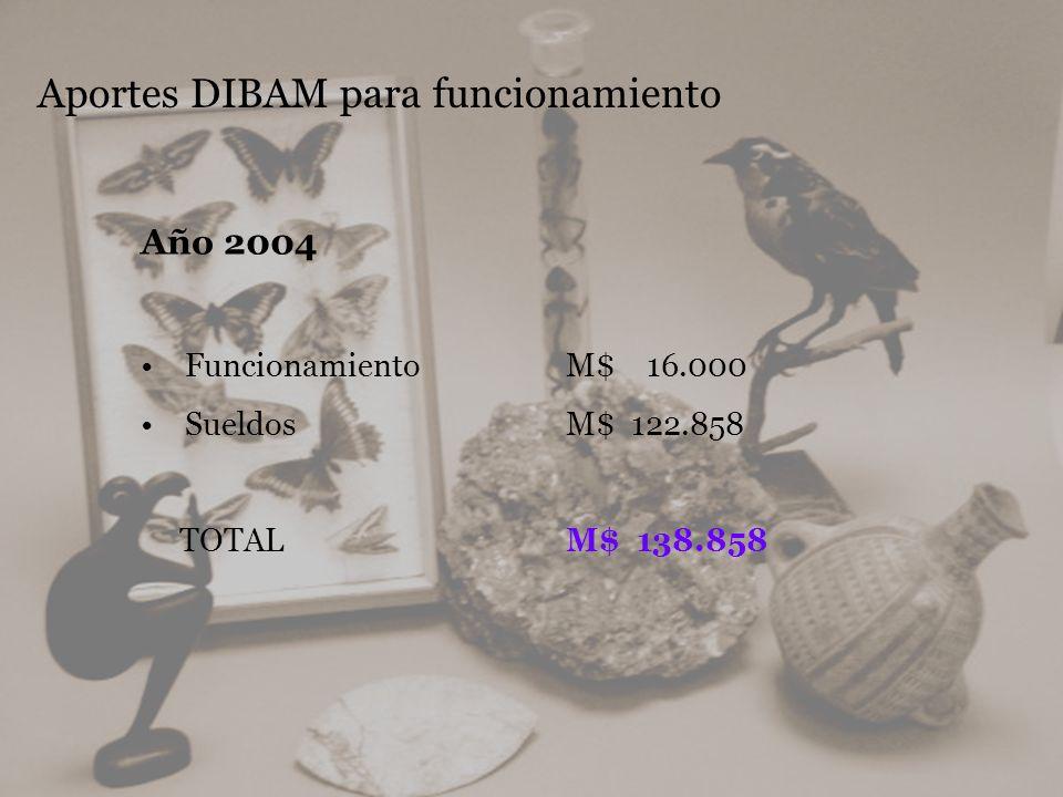 Aportes DIBAM para funcionamiento Año 2004 Funcionamiento M$ 16.000 Sueldos M$ 122.858 TOTAL M$ 138.858