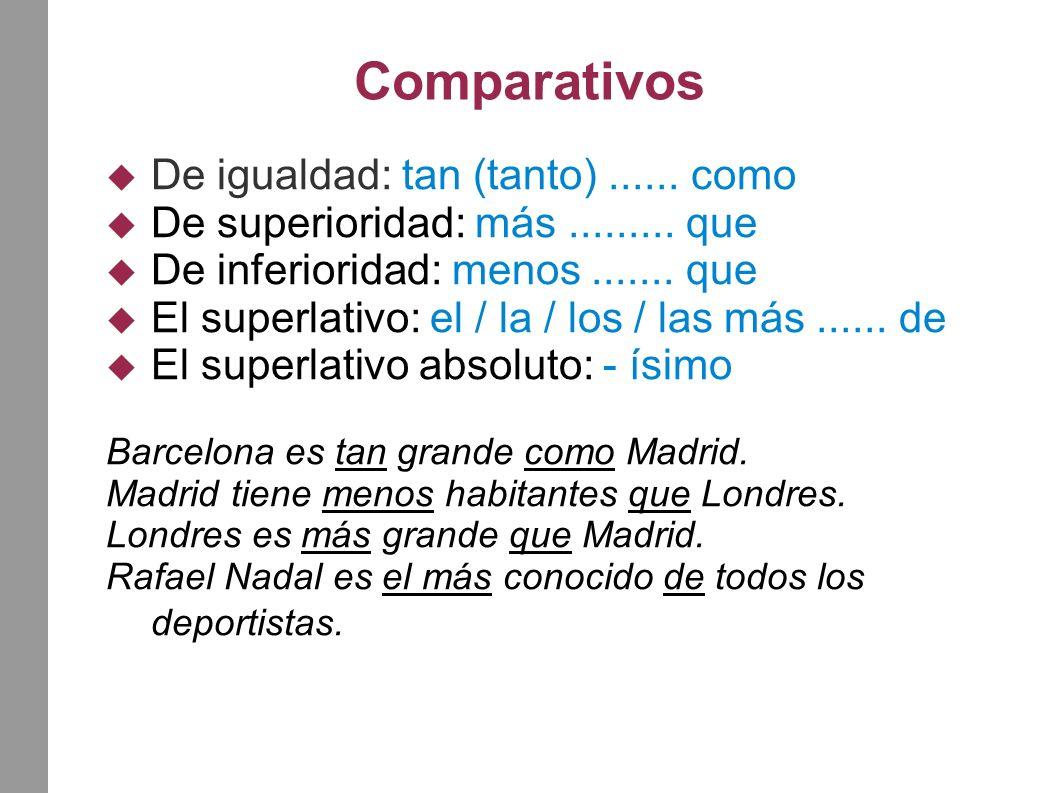 Comparativos De igualdad: tan (tanto)...... como De superioridad: más.........