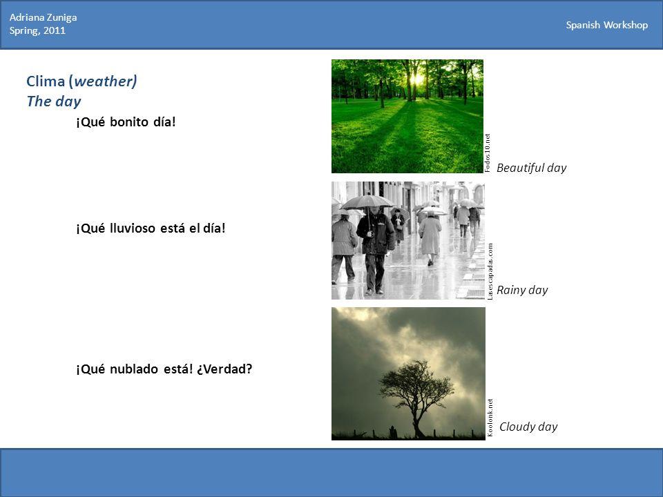 Spanish Workshop Clima (weather) The day ¡Qué bonito día! ¡Qué lluvioso está el día! ¡Qué nublado está! ¿Verdad? Fodos10.net Koolonk.net Adriana Zunig