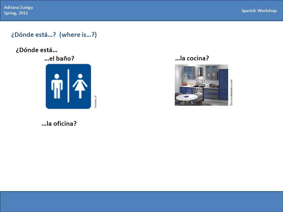 Spanish Workshop ¿Dónde está…? (where is…?) ¿Dónde está… …el baño? Sernac.cl Decorailumina.com …la cocina? …la oficina? Adriana Zuniga Spring, 2011