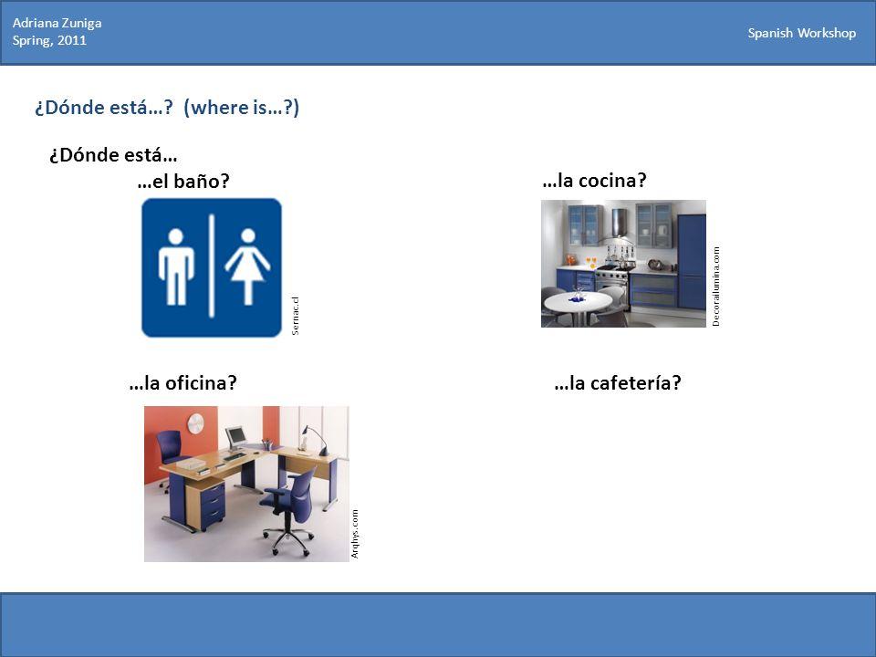Spanish Workshop ¿Dónde está…? (where is…?) ¿Dónde está… …el baño? Sernac.cl Decorailumina.com …la cocina? …la oficina?…la cafetería? Arqhys.com Adria