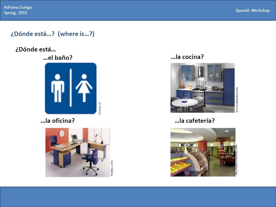 Spanish Workshop ¿Dónde está…? (where is…?) ¿Dónde está… …el baño? Sernac.cl Decorailumina.com …la cocina? …la oficina?…la cafetería? Arqhys.com Azcol