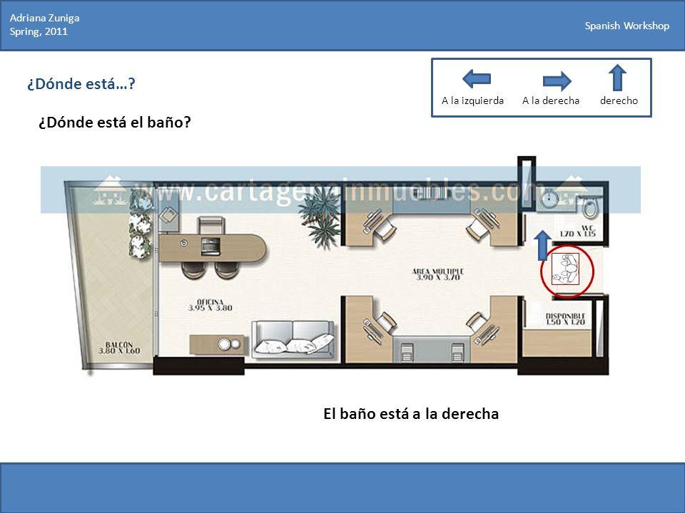 Spanish Workshop ¿Dónde está…? ¿Dónde está el baño? Adriana Zuniga Spring, 2011 El baño está a la derecha A la izquierdaA la derechaderecho