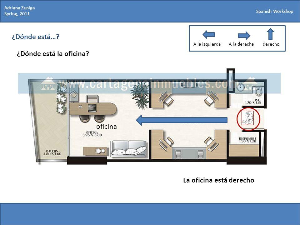 Spanish Workshop ¿Dónde está…? ¿Dónde está la oficina? Adriana Zuniga Spring, 2011 La oficina está derecho oficina A la izquierdaA la derechaderecho