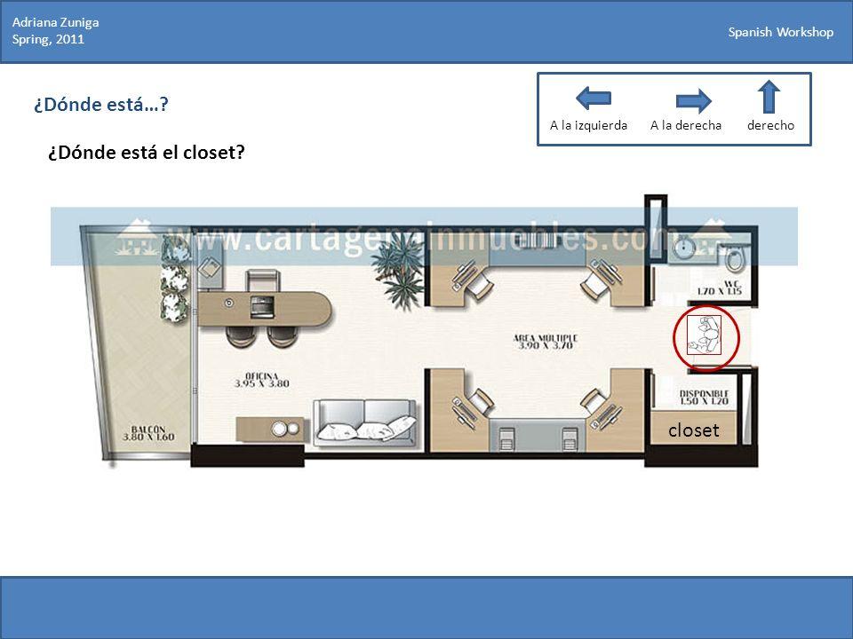 Spanish Workshop ¿Dónde está…? ¿Dónde está el closet? Adriana Zuniga Spring, 2011 closet A la izquierdaA la derechaderecho