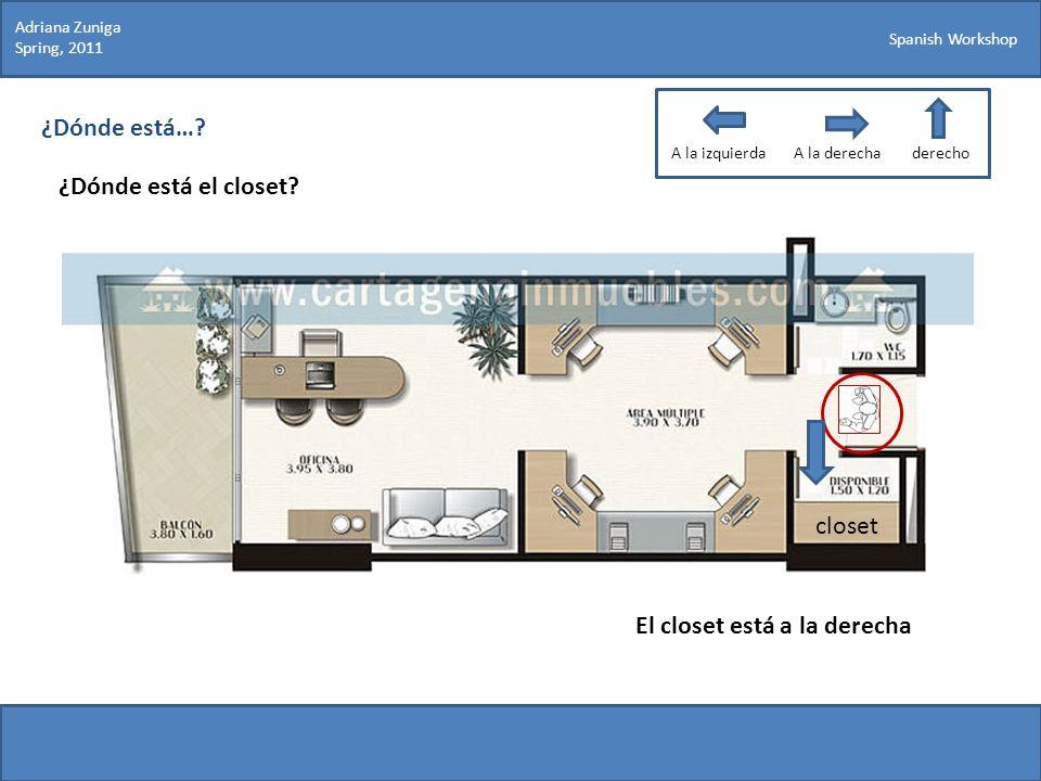 Spanish Workshop ¿Dónde está…? ¿Dónde está el closet? Adriana Zuniga Spring, 2011 El closet está a la derecha closet A la izquierdaA la derechaderecho