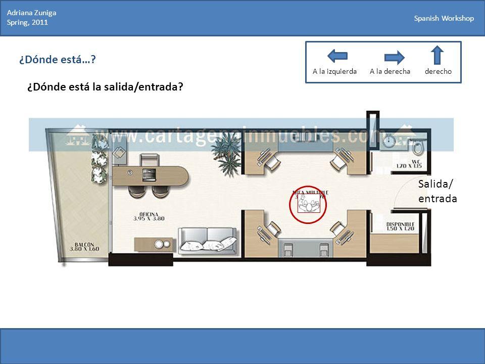 Spanish Workshop ¿Dónde está…? ¿Dónde está la salida/entrada? Adriana Zuniga Spring, 2011 Salida/ entrada A la izquierdaA la derechaderecho