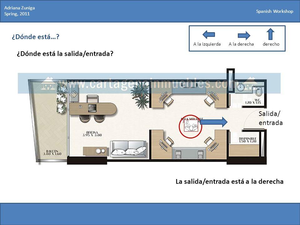 Spanish Workshop ¿Dónde está…? ¿Dónde está la salida/entrada? Adriana Zuniga Spring, 2011 La salida/entrada está a la derecha Salida/ entrada A la izq