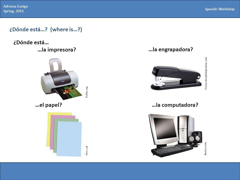 Spanish Workshop ¿Dónde está…? (where is…?) ¿Dónde está… …la impresora? Proveedoradeimprentas.com …la engrapadora? …el papel?…la computadora? Netiev.c