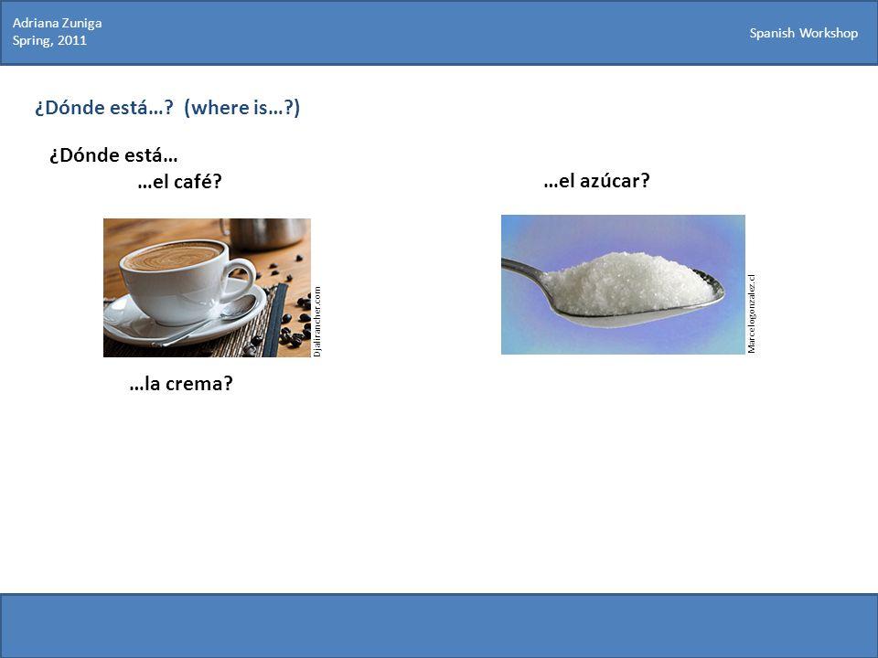 Spanish Workshop ¿Dónde está…? (where is…?) ¿Dónde está… …el café? Marcelogonzalez.cl …el azúcar? …la crema? Djalirancher.com Adriana Zuniga Spring, 2