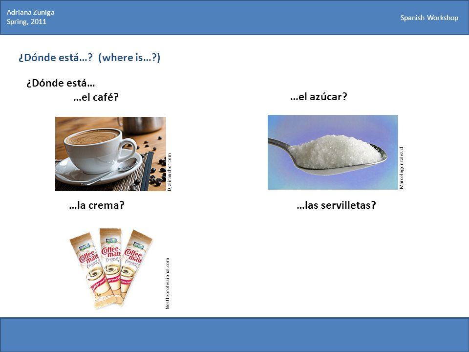 Spanish Workshop ¿Dónde está…? (where is…?) ¿Dónde está… …el café? Marcelogonzalez.cl …el azúcar? …la crema?…las servilletas? Djalirancher.com Nestlep