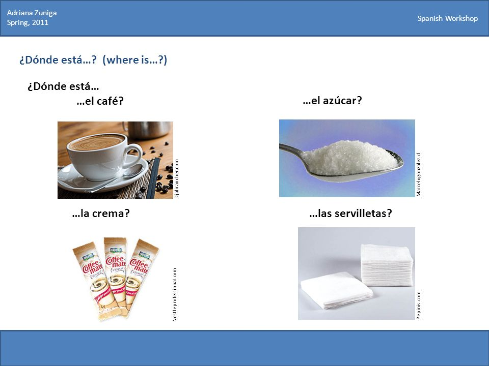 Spanish Workshop ¿Dónde está…? (where is…?) ¿Dónde está… …el café? Marcelogonzalez.cl …el azúcar? …la crema?…las servilletas? Pepinis.com Djalirancher