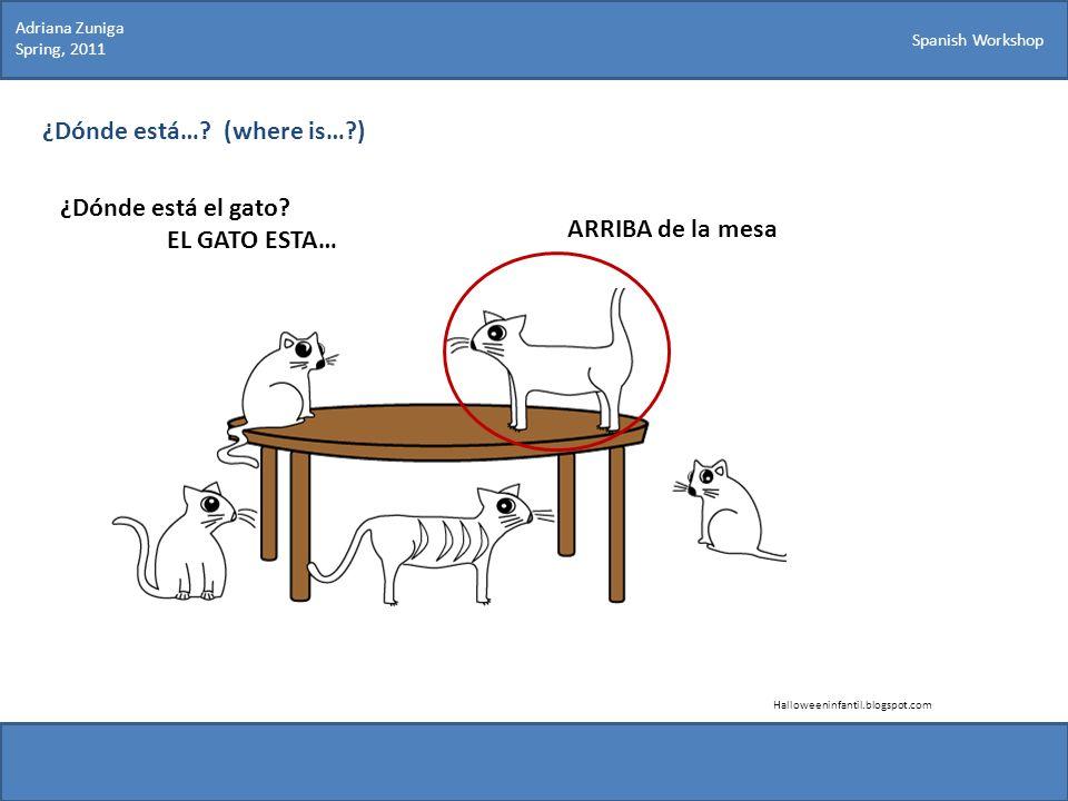Spanish Workshop ¿Dónde está…? (where is…?) ¿Dónde está el gato? EL GATO ESTA… ARRIBA de la mesa Halloweeninfantil.blogspot.com Adriana Zuniga Spring,