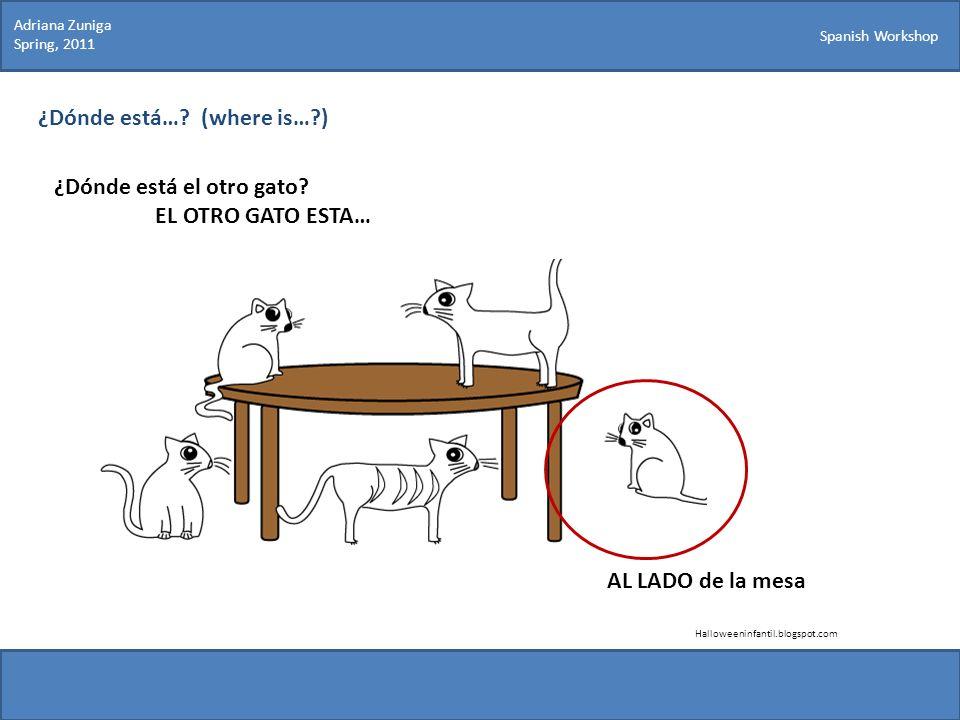 Spanish Workshop ¿Dónde está…? (where is…?) ¿Dónde está el otro gato? EL OTRO GATO ESTA… Halloweeninfantil.blogspot.com AL LADO de la mesa Adriana Zun