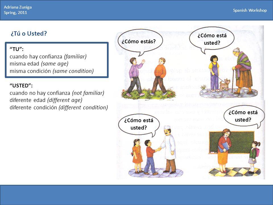 Spanish Workshop ¿Tú o Usted? TU: cuando hay confianza (familiar) misma edad (same age) misma condición (same condition) USTED: cuando no hay confianz