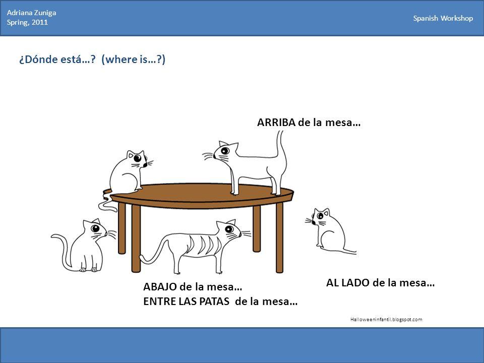 Spanish Workshop ¿Dónde está…? (where is…?) ARRIBA de la mesa… Halloweeninfantil.blogspot.com ABAJO de la mesa… ENTRE LAS PATAS de la mesa… AL LADO de