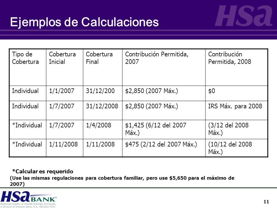 11 Ejemplos de Calculaciones Tipo de Cobertura Cobertura Inicial Cobertura Final Contribución Permitida, 2007 Contribución Permitida, 2008 Individual1/1/200731/12/200$2,850 (2007 Máx.)$0 Individual1/7/200731/12/2008$2,850 (2007 Máx.)IRS Máx.