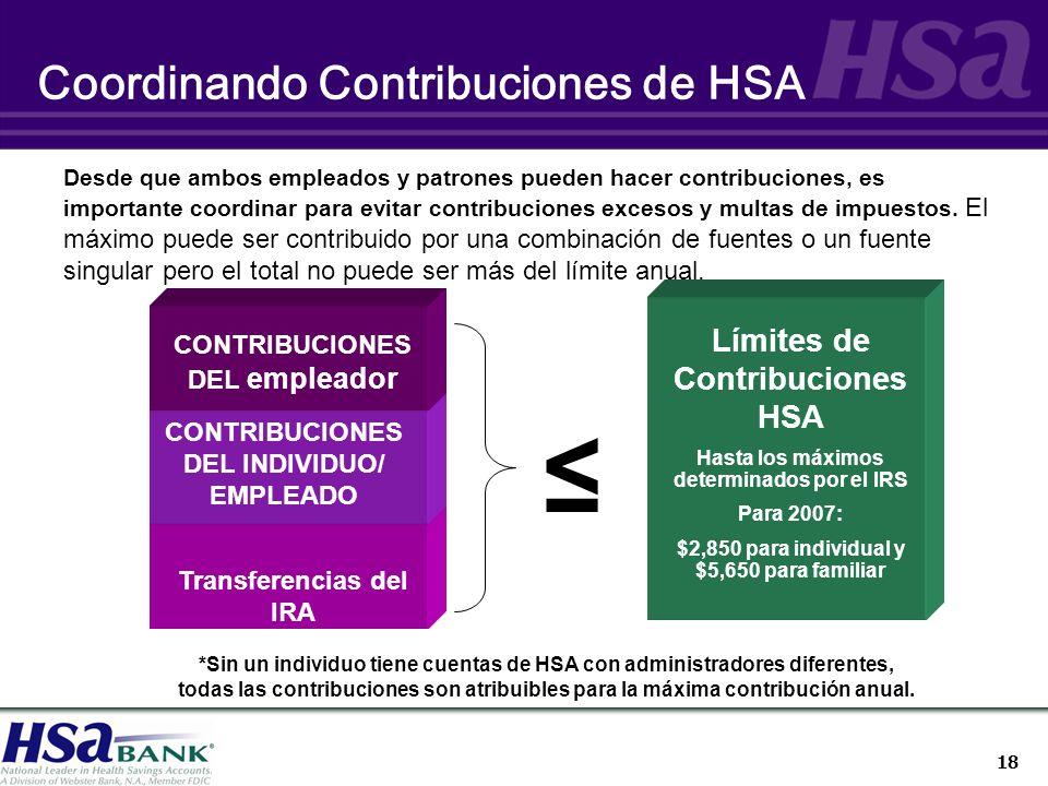 18 Coordinando Contribuciones de HSA CONTRIBUCIONES DEL empleador Límites de Contribuciones HSA Hasta los máximos determinados por el IRS Para 2007: $2,850 para individual y $5,650 para familiar CONTRIBUCIONES DEL INDIVIDUO/ EMPLEADO Desde que ambos empleados y patrones pueden hacer contribuciones, es importante coordinar para evitar contribuciones excesos y multas de impuestos.
