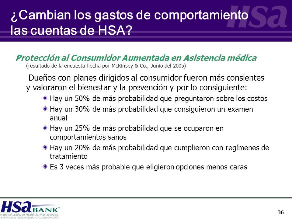 36 ¿Cambian los gastos de comportamiento las cuentas de HSA.