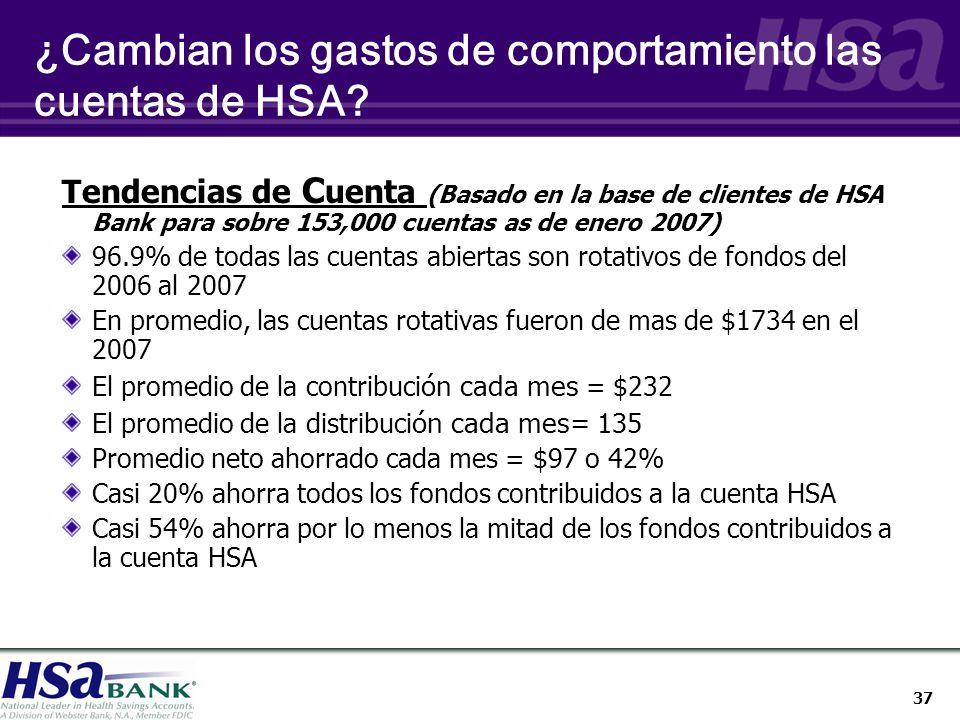 37 Tendencias de C uenta (Basado en la base de clientes de HSA Bank para sobre 153,000 cuentas as de enero 2007) 96.9% de todas las cuentas abiertas son rotativos de fondos del 2006 al 2007 En promedio, las cuentas rotativas fueron de mas de $1734 en el 2007 El promedio de la contribuci ón cada mes = $232 El promedio de la distribuci ón cada mes= 135 Promedio neto ahorrado cada mes = $97 o 42% Casi 20% ahorra todos los fondos contribuidos a la cuenta HSA Casi 54% ahorra por lo menos la mitad de los fondos contribuidos a la cuenta HSA ¿Cambian los gastos de comportamiento las cuentas de HSA