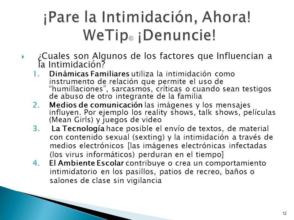 ¿Cuales son Algunos de los factores que Influencian a la Intimidación? 1.Dinámicas Familiares utiliza la intimidación como instrumento de relación que