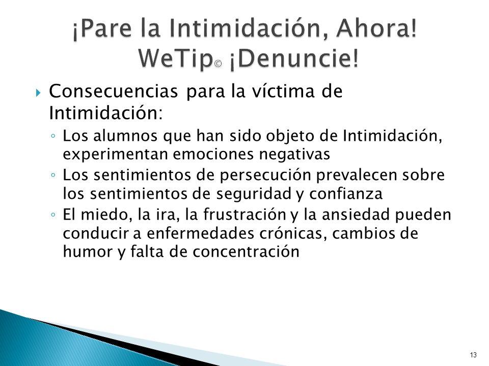 Consecuencias para la víctima de Intimidación: Los alumnos que han sido objeto de Intimidación, experimentan emociones negativas Los sentimientos de p