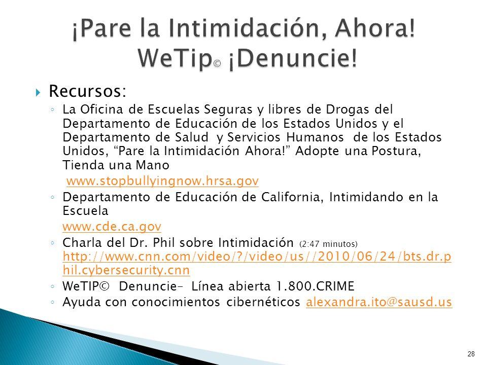 Recursos: La Oficina de Escuelas Seguras y libres de Drogas del Departamento de Educación de los Estados Unidos y el Departamento de Salud y Servicios