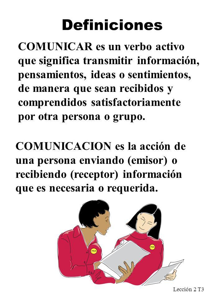 Lección 2 T3 Definiciones COMUNICAR es un verbo activo que significa transmitir información, pensamientos, ideas o sentimientos, de manera que sean re