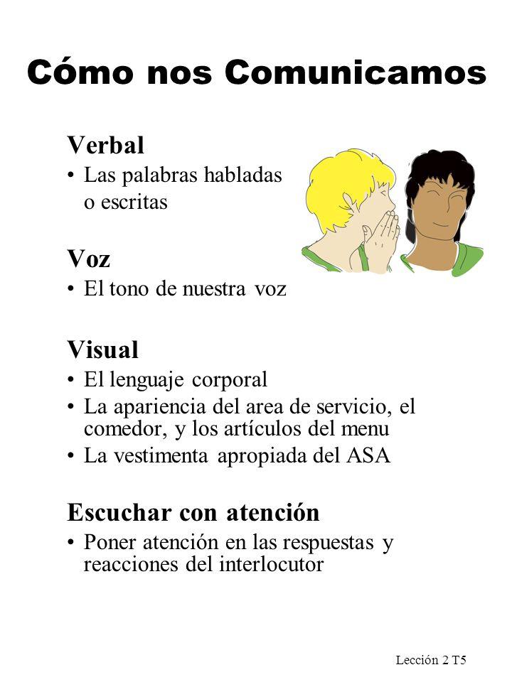 Lección 2 T5 C ó mo nos Comunicamos Verbal Las palabras habladas o escritas Voz El tono de nuestra voz Visual El lenguaje corporal La apariencia del a