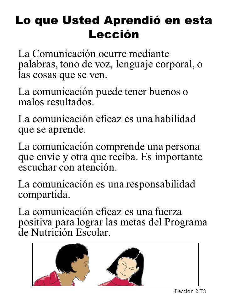 Lección 2 T8 Lo que Usted Aprendió en esta Lección La Comunicación ocurre mediante palabras, tono de voz, lenguaje corporal, o las cosas que se ven. L
