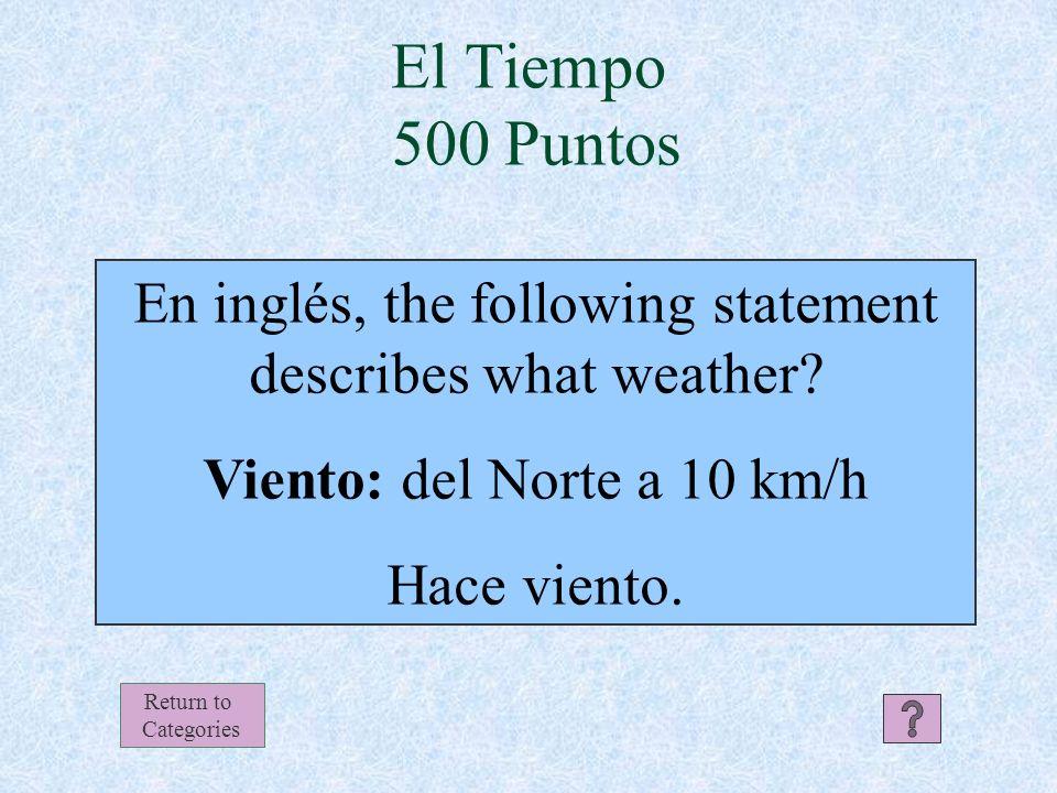 El Tiempo Respuesta 400 Puntos Return to Categories Hace sol y calor.