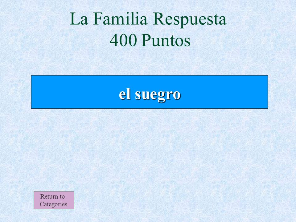 Mi abuelo materno es el ________ de mi padre. La Familia 400 Puntos Return to Categories