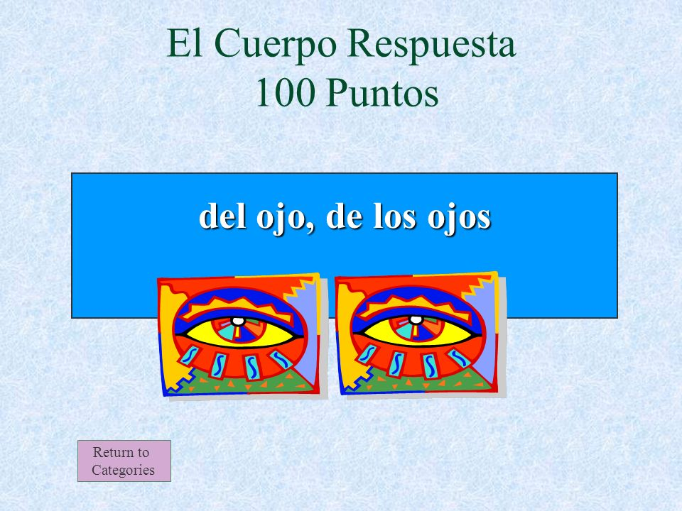 El iris, la retina y la córnea son partes de _______________. El Cuerpo 100 Puntos Return to Categories