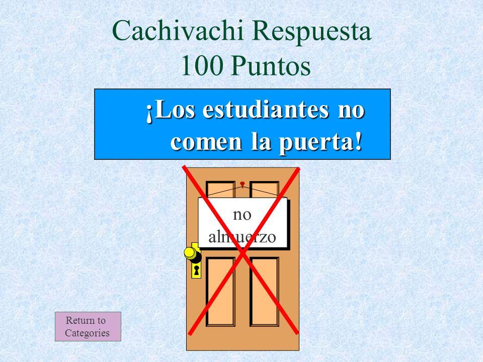 Cachivachi 100 Puntos Return to Categories En la cafetería de la escuela Redford, los estudiantes no comen: a) la pizza b) el sándwich c) la puerta