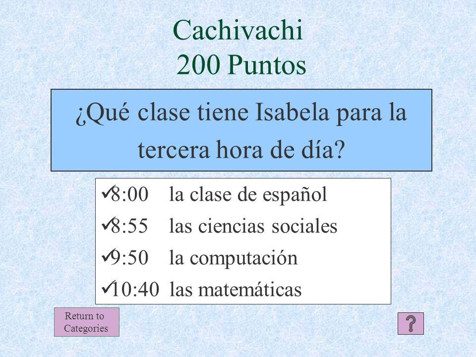Cachivachi Respuesta 100 Puntos Return to Categories ¡Los estudiantes no comen la puerta.