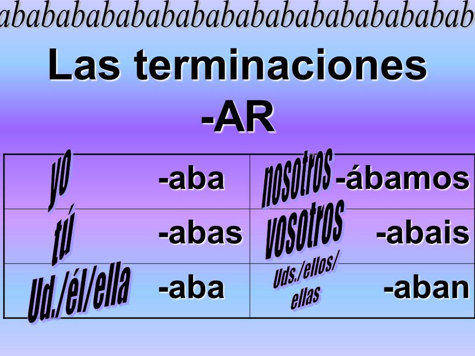 Las terminaciones -AR -aba -aba-ábamos -abas -abas-abais -aba -aba-aban