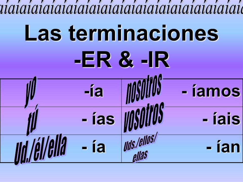 Las terminaciones -ER & -IR -ía -ía - íamos - ías - ías - íais - ía - ía - ían