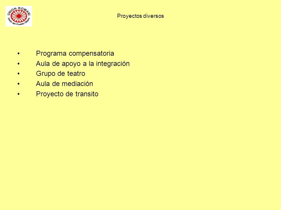 Proyectos diversos Programa compensatoria Aula de apoyo a la integración Grupo de teatro Aula de mediación Proyecto de transito