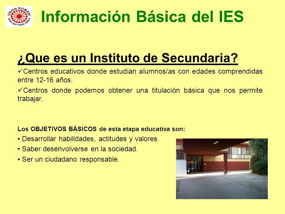 Información Básica del IES ¿Que es un Instituto de Secundaria? Centros educativos donde estudian alumnos/as con edades comprendidas entre 12-16 años.