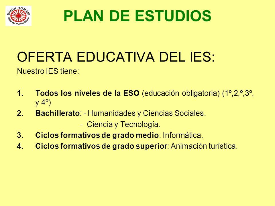 PLAN DE ESTUDIOS OFERTA EDUCATIVA DEL IES: Nuestro IES tiene: 1.Todos los niveles de la ESO (educación obligatoria) (1º,2,º,3º, y 4º) 2.Bachillerato: