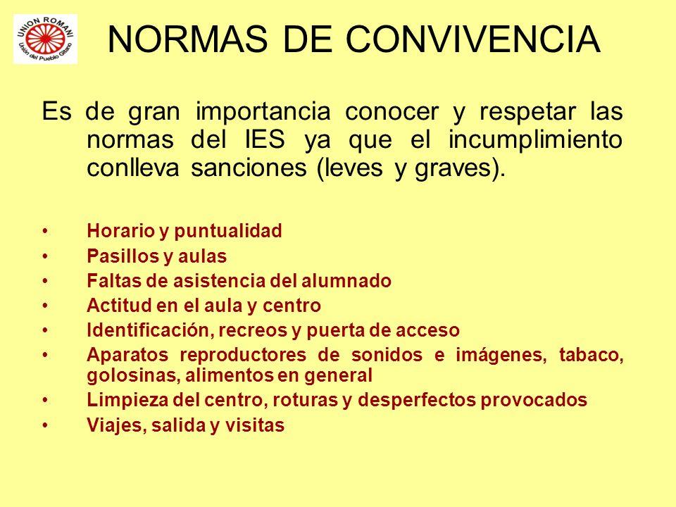 NORMAS DE CONVIVENCIA Es de gran importancia conocer y respetar las normas del IES ya que el incumplimiento conlleva sanciones (leves y graves). Horar
