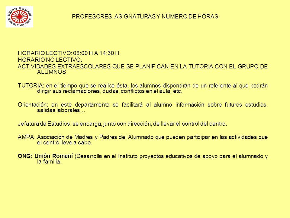 PROFESORES, ASIGNATURAS Y NÚMERO DE HORAS HORARIO LECTIVO: 08:00 H A 14:30 H HORARIO NO LECTIVO: ACTIVIDADES EXTRAESCOLARES QUE SE PLANIFICAN EN LA TU
