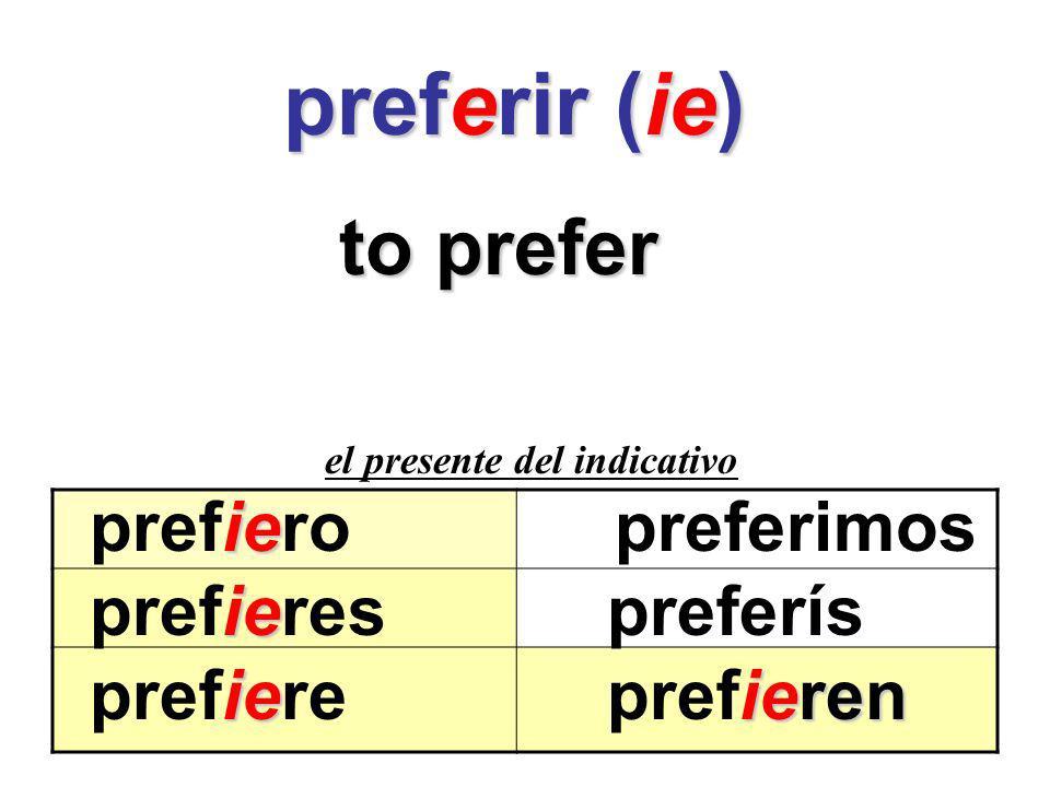 preferir (ie) preferir (ie) to prefer el presente del indicativo ie prefieropreferimos ie prefieres preferís ieieren prefiere prefieren