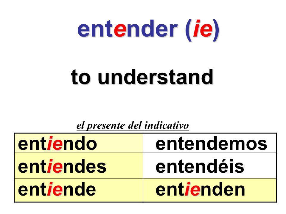 entender (ie) entender (ie) to understand el presente del indicativo ie entiendoentendemos ie entiendesentendéis ieie entiendeentienden