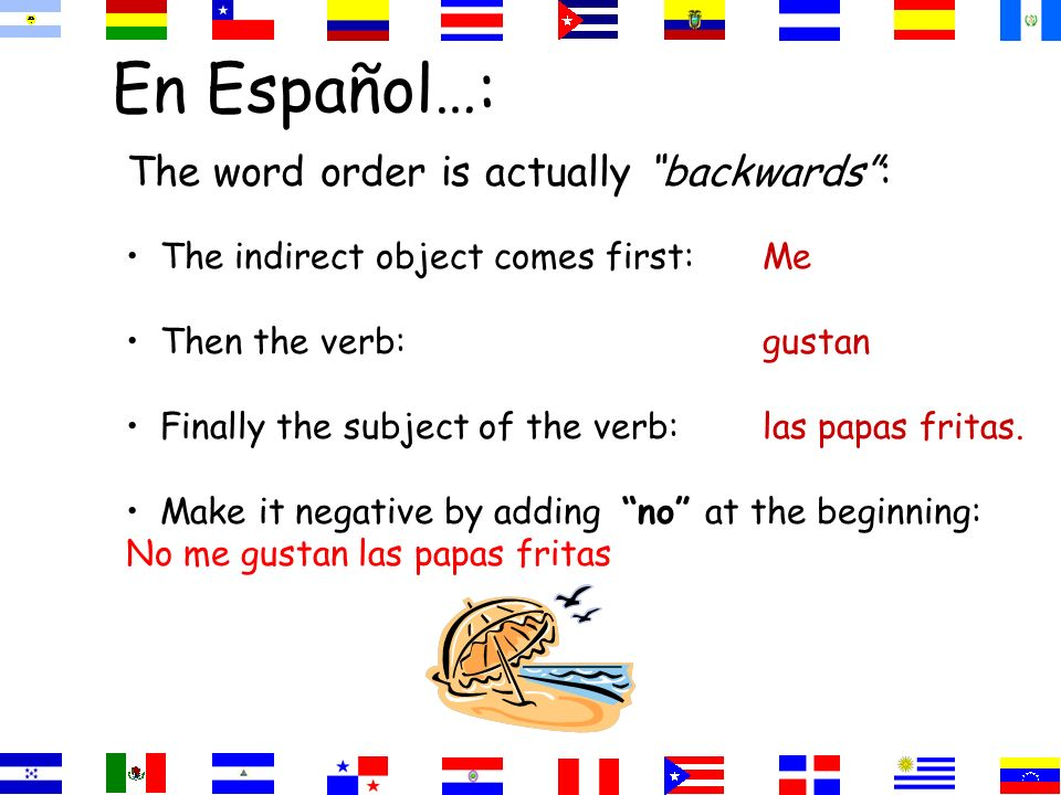 En Español…: The word order is actually backwards: The indirect object comes first:Me Then the verb:gustan Finally the subject of the verb:las papas fritas.