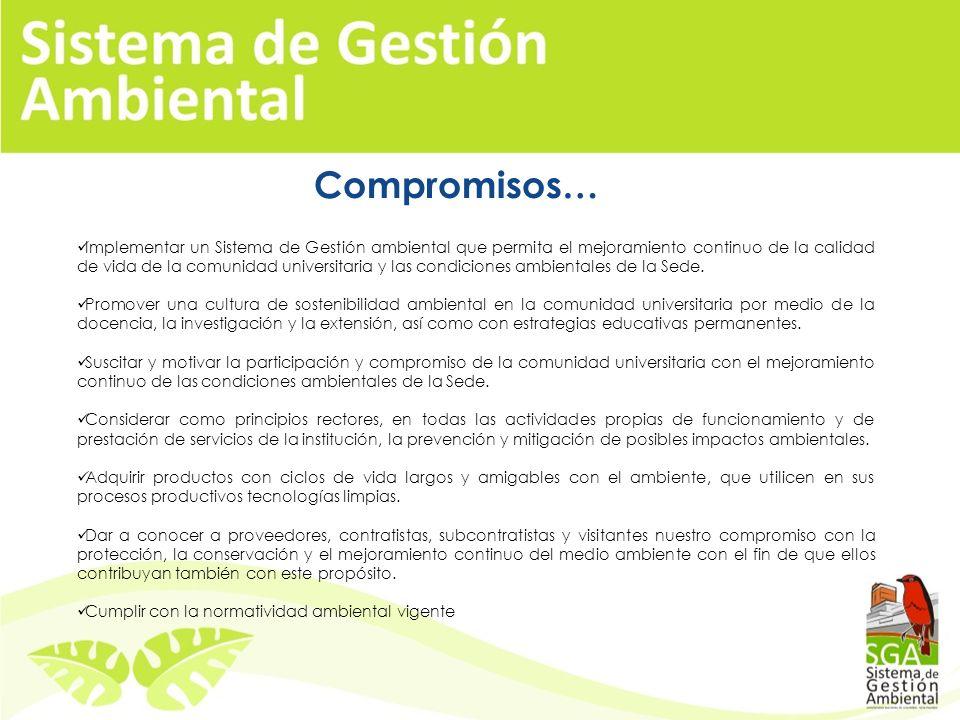 Política Ambiental Resolución No. 012 de mayo de 2008, adopta la Política Ambiental La Universidad Nacional de Colombia Sede Palmira consiente de su d