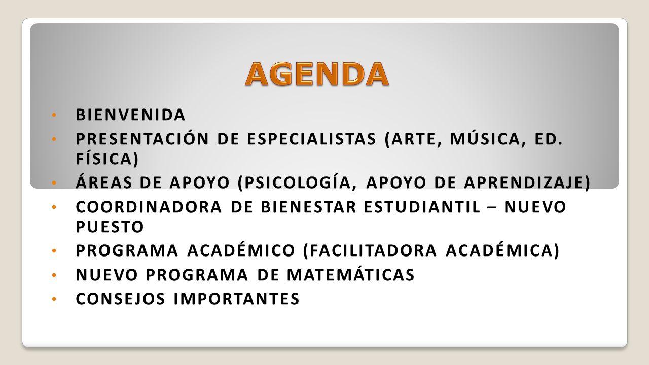 BIENVENIDA PRESENTACIÓN DE ESPECIALISTAS (ARTE, MÚSICA, ED. FÍSICA) ÁREAS DE APOYO (PSICOLOGÍA, APOYO DE APRENDIZAJE) COORDINADORA DE BIENESTAR ESTUDI