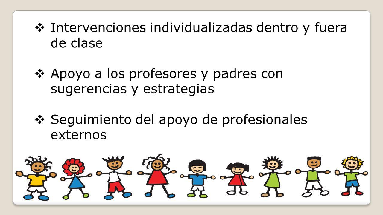 Intervenciones individualizadas dentro y fuera de clase Apoyo a los profesores y padres con sugerencias y estrategias Seguimiento del apoyo de profesi